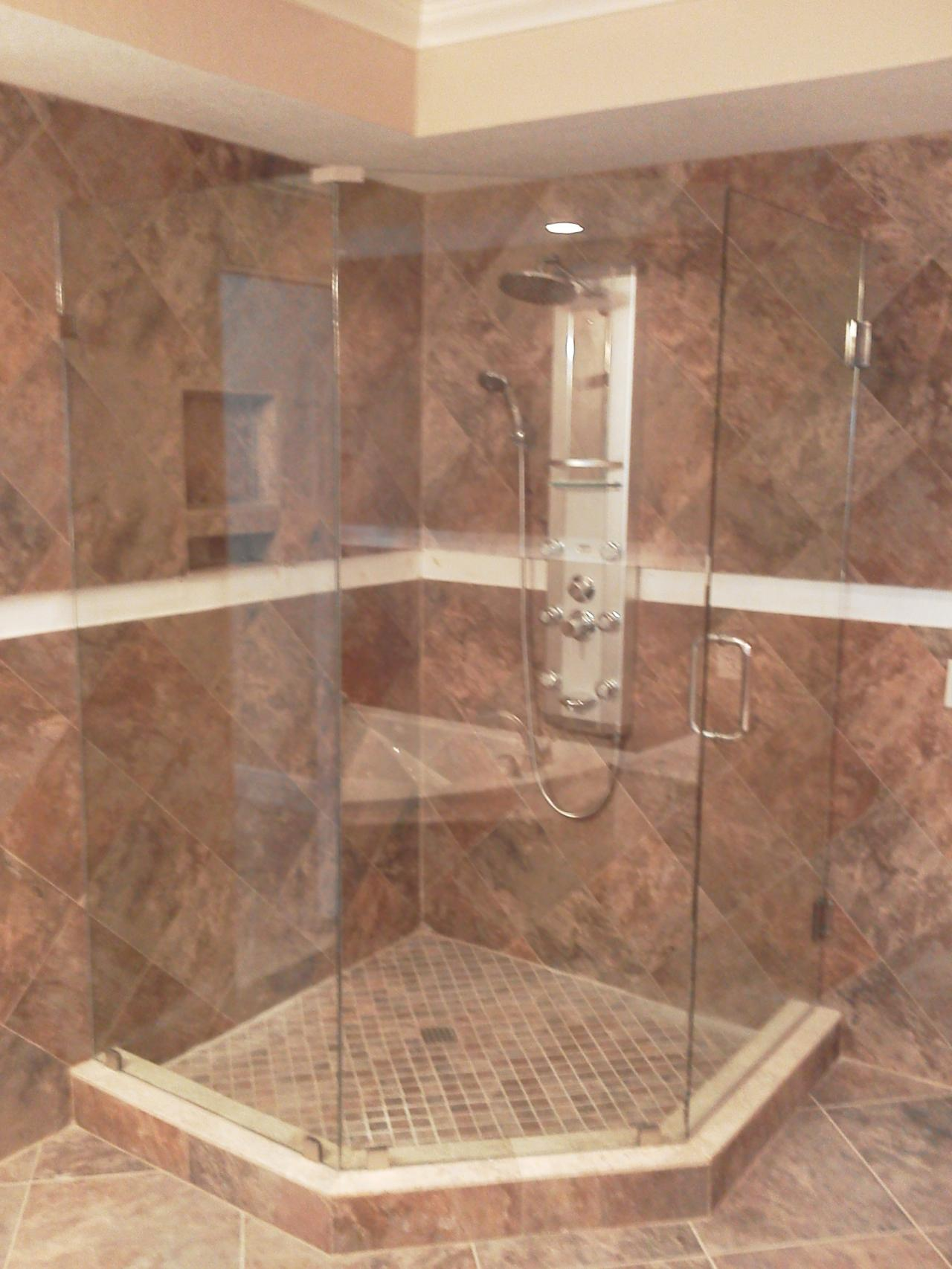 L Shaped Shower Bath Looking Glass Company Frameless Shower Enclosures