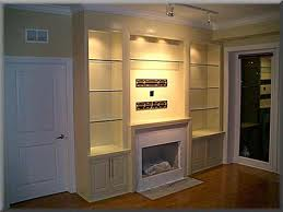 Entertainment center with glass shelves